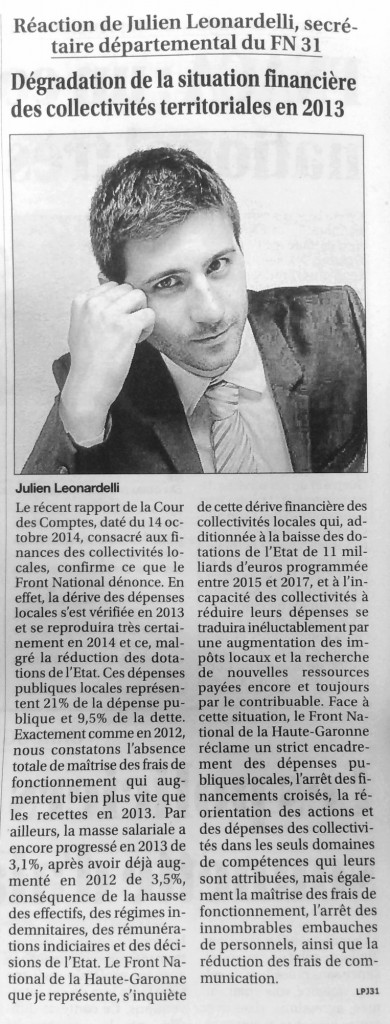 julienleonardelli-dégradationsituationfinancièrecollectivitésterritoriales-fn31-articlelepetitjournaldupaystoulousain